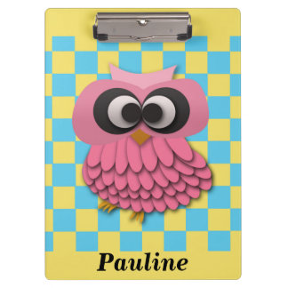 Cute Personalized Pink Owl on Blue and Yellow Clipboards