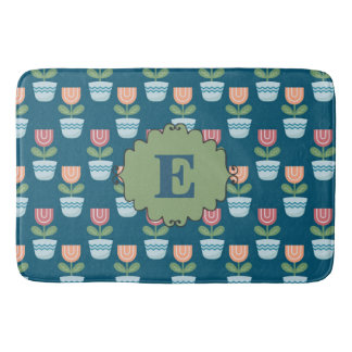 Cute Personalized Pink Peach Flowers on Blue Bath Mat