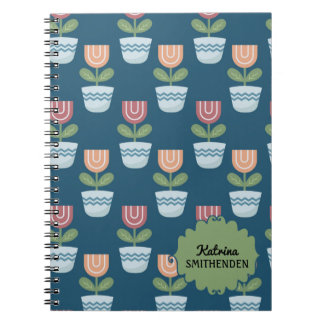 Cute Personalized Pink Peach Flowers on Blue Notebooks