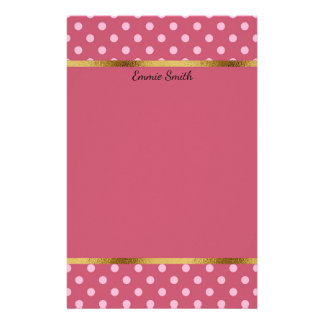 Cute Personalized Pink Polka Dots and Gold Stationery