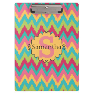 Cute Personalized Pink Yellow Teal Green Chevron Clipboard