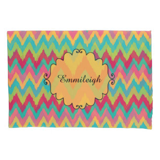 Cute Personalized Pink Yellow Teal Green Chevron Pillowcase
