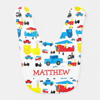 Cute Personalized Planes, Trains and Cars Collage Baby Bibs