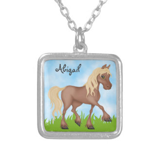 Cute Personalized Pretty Brown Horse Silver Plated Necklace