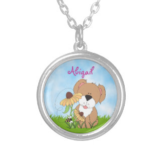 Cute Personalized Puppy Dog with Flowers Necklace