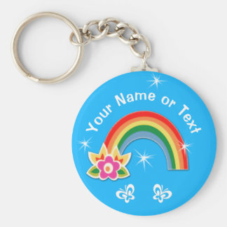 Cute Personalized Rainbow Party Favors for Girls Basic Round Button Key Ring