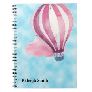 Cute Personalized Red White Hot Air Balloon Spiral Notebook