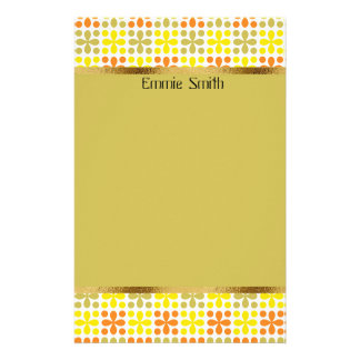 Cute Personalized Retro Yellow Green Orange White Stationery