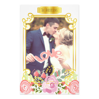 Cute personalized romantic floral photo frame