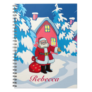 Cute Personalized Santa on a Snowy winter scene Notebook