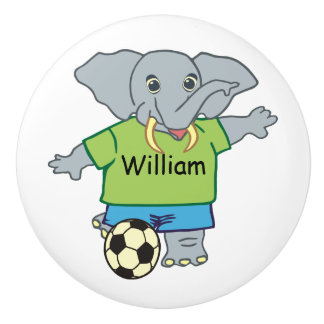 Cute Personalized Soccer Elephant Ceramic Knob