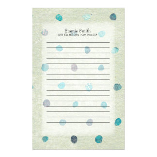 Cute Personalized Teal and Green Watercolor Stationery