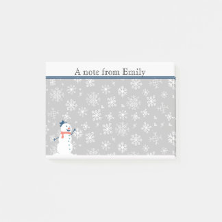 Cute Personalized Winter Snow / Snowman Post it Post-it Notes