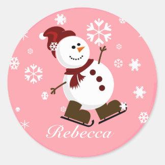 Cute Personalized Xmas Snowman Round Sticker