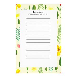 Cute Personalized Yellow Floral and Greenery Stationery