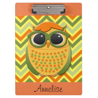 Cute Personalized Yellow Owl on Chevron Clipboard