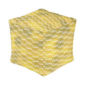 Cute Personalized Your Name All Over Pattern Gold Pouf