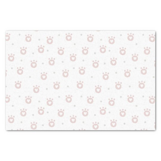 Cute Pet Paws with Hearts 10lb Tissue Paper, White Tissue Paper