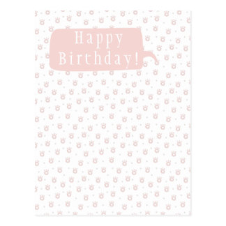Cute Pet Paws with Hearts Birthday Postcard
