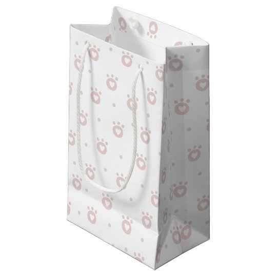 Cute Pet Paws with Hearts Gift Bag - Small, Glossy