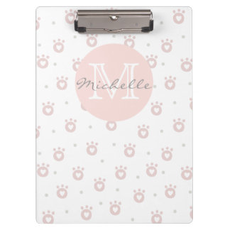 Cute Pet Paws with Hearts | Monogram Clipboard