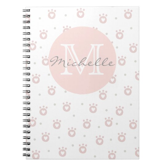 Cute Pet Paws with Hearts | Monogram Notebook