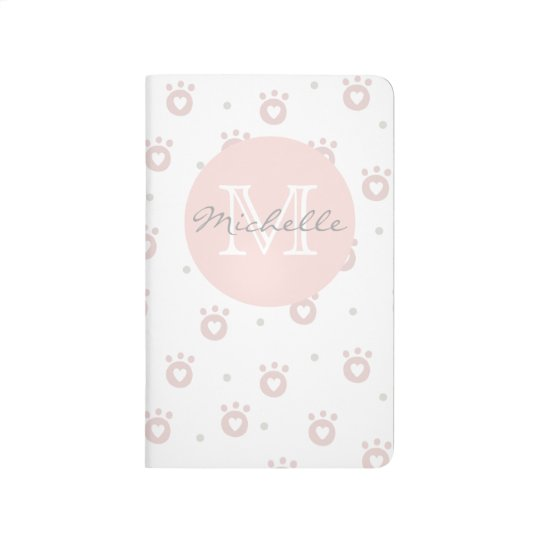 Cute Pet Paws with Hearts Monogram Pocket Journal