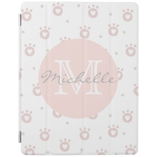 Cute Pet Paws with Hearts Personalised iPad Cover