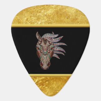 Cute pfergekopf metallized horse head gold foil guitar pick