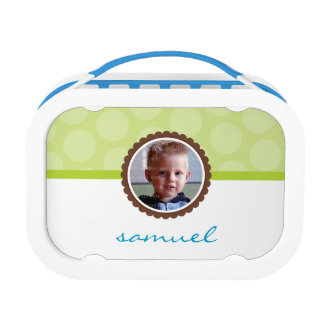 CUTE PHOTO bright polka dot pattern boy lime green Lunch Box