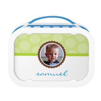 CUTE PHOTO bright polka dot pattern boy lime green Lunchbox