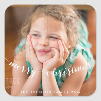 Cute Photo Merry Christmas Square Stickers