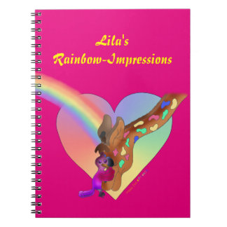 Cute Photo Notebook - Heart Rainbow & Lila