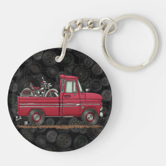 Cute Pickup Cycle Double-Sided Round Acrylic Key Ring