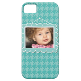 Cute picture frame with blue houndstooth iPhone 5 cases