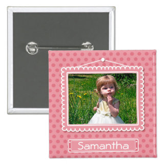 Cute picture frame with polkadots button