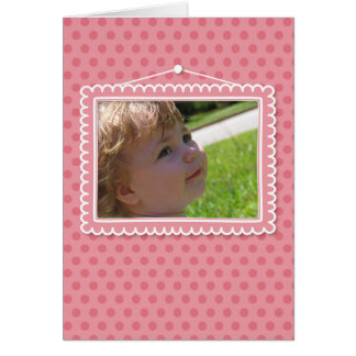 Cute picture frame with polkadots card