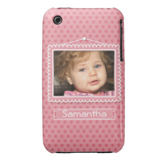 Cute picture frame with polkadots iPhone 3 cover