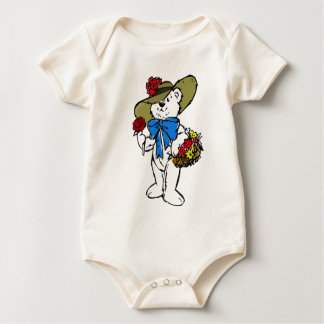Cute Picture Hat Flower Bear Baby Bodysuit
