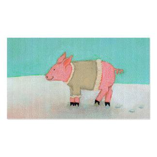 Cute pig art winter snow scene warm sweater business card