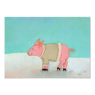 "Cute pig art winter snow scene warm sweater 5"" x 7"" invitation card"