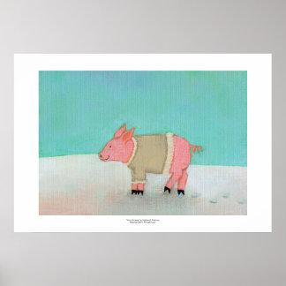 Cute pig art winter snow scene warm sweater print
