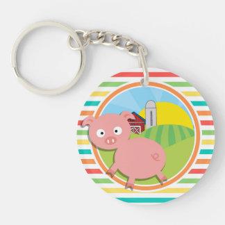 Cute Pig Bright Rainbow Stripes Acrylic Key Chain