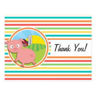 Cute Pig Bright Rainbow Stripes Post Card