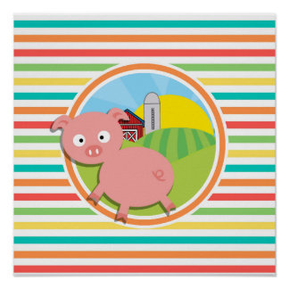 Cute Pig Bright Rainbow Stripes Posters