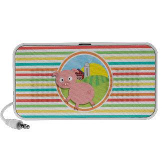 Cute Pig; Bright Rainbow Stripes Speaker System
