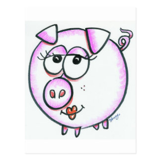 Cute pig cartoon postcard