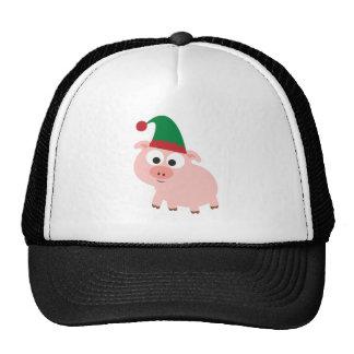Cute Pig Christmas Elf Trucker Hats