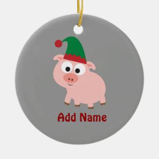 Cute Pig Christmas Elf Round Ceramic Decoration