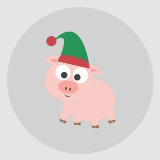 Cute Pig Christmas Elf Round Sticker